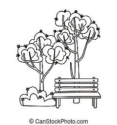 autumn foliage nature bench isolated icon line style