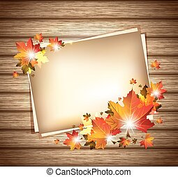 Autumn Foliage on Wooden Background