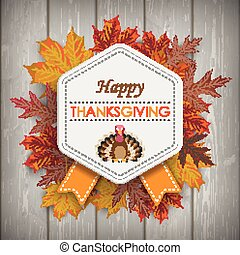 Autumn Foliage Vintage Hexagon Emblem Thanksgiving Wood -...