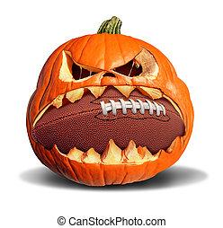 Autumn Football - Autumn football concept as a pumkin jack o...