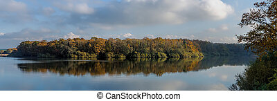 autumn forest and reflection