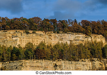 autumn forest and sandstone cliff