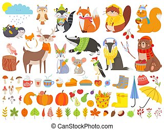 Autumn forest animals. Fall squirrel, funny bear and cute autumnal fox. Fallen leaves cartoon vector set