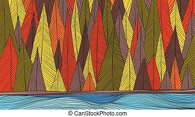 Autumn forest beside the river outline hand draw