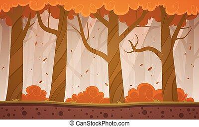 Autumn Forest Cartoon Background