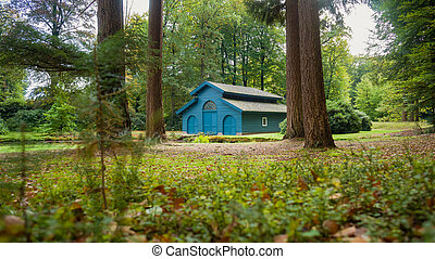 Autumn forest house for boats in the woods - Old boat house...