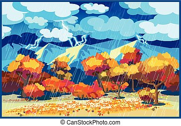 Autumn forest in the storm
