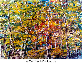 Autumn forest landscape. Illustration of an art painting, acrylic on canvas