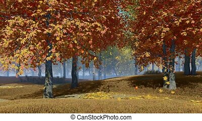 Serene autumn landscape with autumnal leaves falling from colorful maple trees in slow motion at daytime. With no people fall season realistic 3D animation.