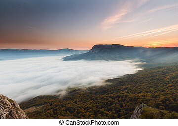 Autumn forest over the clouds in Andia