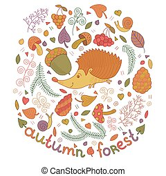 Autumn forest set in vector. Fall collection with hedgehog,...