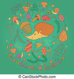 Autumn forest set in vector with hedgehog, leaves and cones