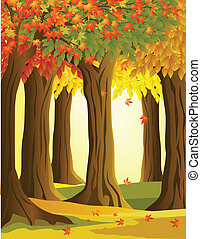 Autumn forest - vector illustration of autumn forest ...