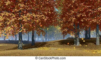 Peaceful woodland scenery on a forest edge with colorful autumn leaves falling from maple trees in slow motion at sunny day. With no people fall season realistic 3D animation.