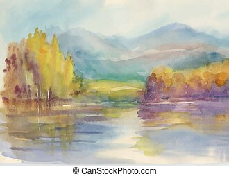 Autumn forest with river watercolor illustration.
