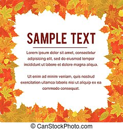 Autumn Frame from Falling Foliage. Design Vector
