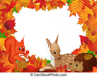 Frame illustration with autumn leaves and a squirrel