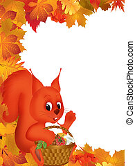 Autumn - Frame illustration with autumn leaves and a ...