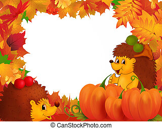 Autumn - Frame illustration with autumn leaves and hedgehogs