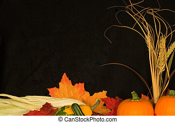 Autumn Frame IV - Border of autumn items on background of ...