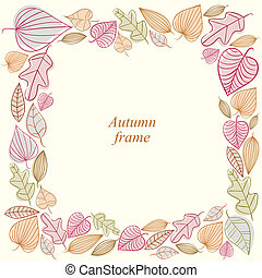 Autumn frame made of leaves.