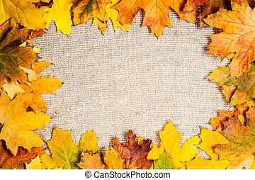 Autumn frame on canvas