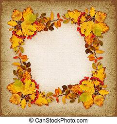 Autumn frame on vintage background