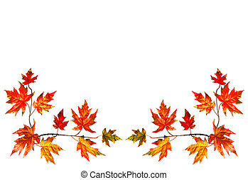 Autumn frame - Bottom border with red fall maple leaves