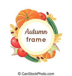 Autumn Frame Vector Concept in Flat Design
