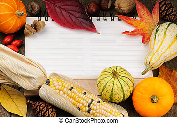 Autumn frame with copyspace and seasonal vegetables