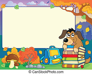 Autumn frame with dog and books