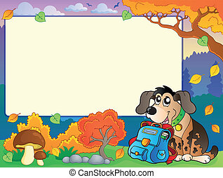 Autumn frame with dog and schoolbag - eps10 vector...