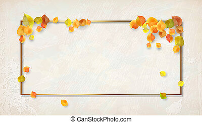Autumn Frame with Falling Leaves