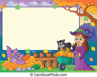Autumn frame with Halloween theme 1