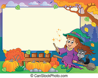 Autumn frame with Halloween theme 2