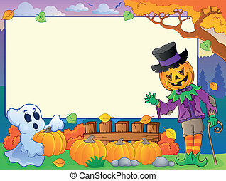 Autumn frame with Halloween theme 4 - eps10 vector ...