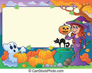 Autumn frame with Halloween theme 6