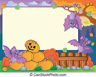 Autumn frame with Halloween theme 7