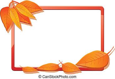 Autumn frame with orange leaves, vector illustration