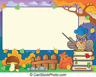 Autumn frame with owl teacher 1
