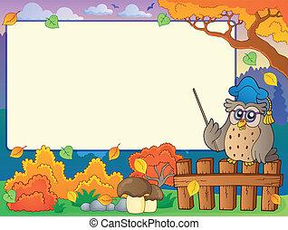 Autumn frame with owl teacher 3