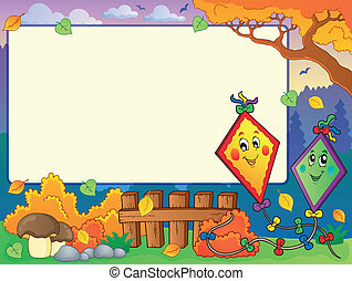 Autumn frame with two kites - eps10 vector illustration.