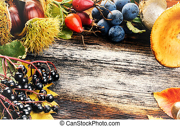 Autumn frame with wild berries and mushrooms on old wooden background