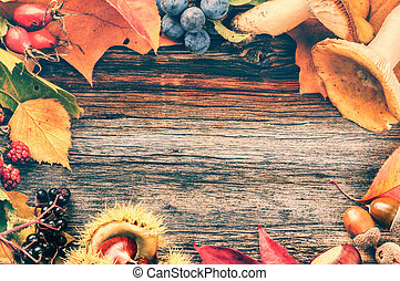 Autumn frame with wild berries and mushrooms on wooden background