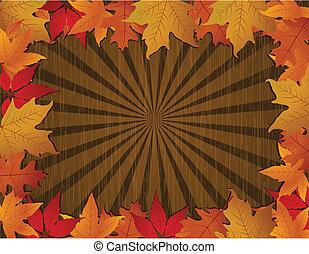 Autumn frame with wodden background.