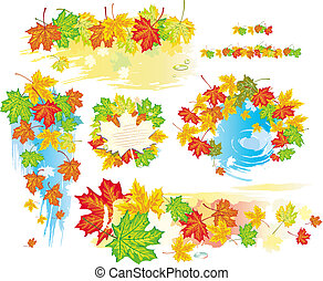 Autumn frames and banners from leaves