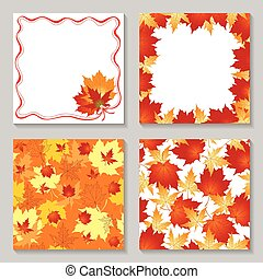 Autumn frames and pattern seamless