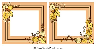 Autumn Frames Set, Leaves on Vector Illustration