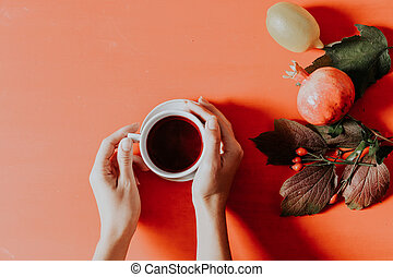 autumn fruit leaves a cup of tea for breakfast