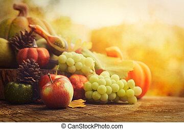 Autumn fruit - Autumn nature concept. Fall fruit and...